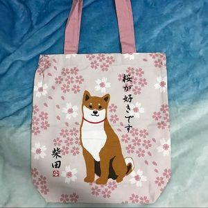 Japan Shibainu Shoulder Tote Pink(I like Sakura)